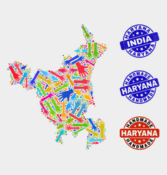 Hand collage haryana state map and distress vector