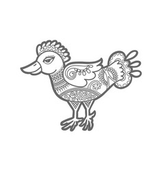 hand drawing of decorative bird in indian vector image