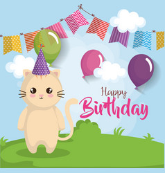 Happy birthday card with cat vector