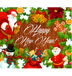 happy new year banner with wreath on wood vector image
