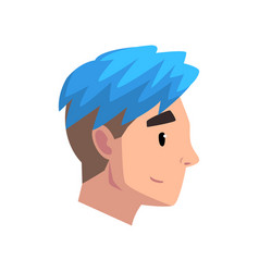 head of young man with trendy haircut profile of vector image