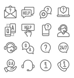 help and support icons set co vector image