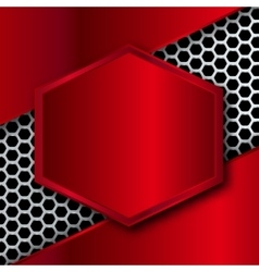 Hi-Tech Metallic Background with hexagonal frame vector
