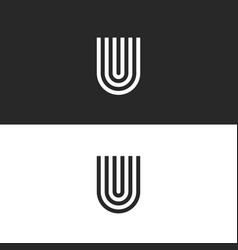 initial hipster letter u logo monogram horseshoe vector image
