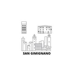 italy san gimignano city line travel skyline set vector image