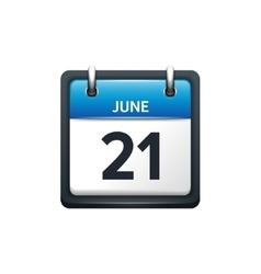 June 21 Calendar icon flat vector