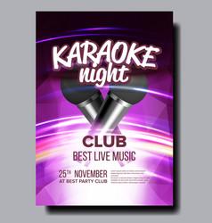 karaoke poster club background mic design vector image