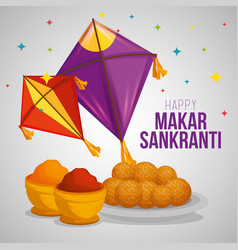 Kites and food to makar sankranti ceremony vector