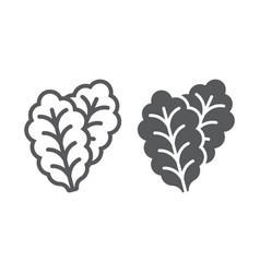 leaf lettuce line and glyph icon vegetable vector image