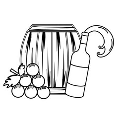 Line bottle splashing wine barrel and grape vector