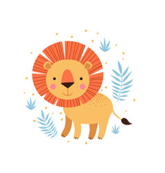lion and tropical leaves vector image