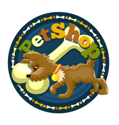 Little brown dog with bone on the logo vector