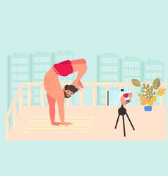 Man blogger shooting video content vector