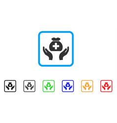 Medical fund care hands framed icon vector