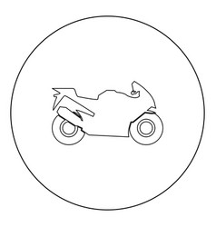 motorcycle black icon in circle isolated vector image