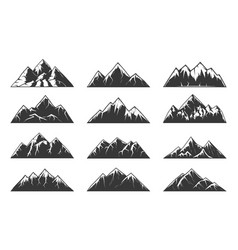 Mountain chain snowy peaks rocky hills vector