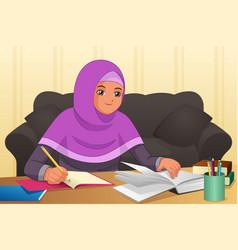 Muslim girl doing homework at home vector