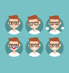 Nerd boy profile pics set of flat portraits vector