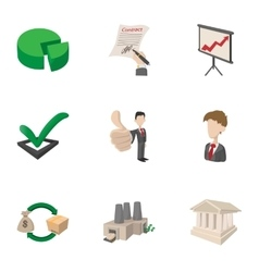 Office icons set cartoon style vector image