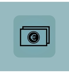 Pale blue euro bill icon vector