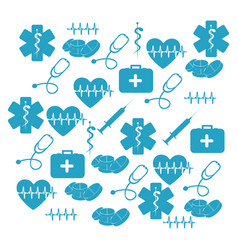 pattern blue silhouette health symbol and star of vector image