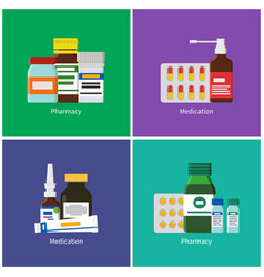 Pharmacy and medication color banners collection vector