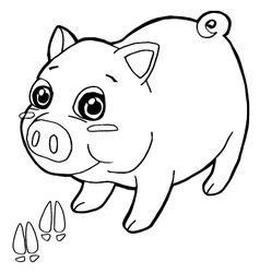pig with paw print Coloring Pages vector image