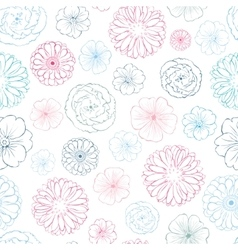 Pink blue lineart flowers heads seamless vector