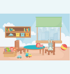 Playroom with shelf boxes ball table chair window vector