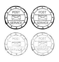 post service black faded round stamp vector image