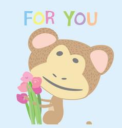 Postcard monkey kids vector