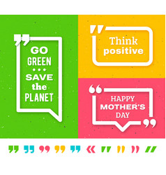 Quote frame templates quotation marks set vector