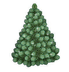 realistic green christmas tree holiday symbol vector image