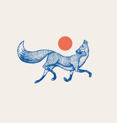 Red fox badge forest ginger and sun wild vector
