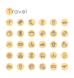 Round Travel Icons vector image