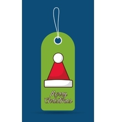 Santas hat label merry christmas design vector