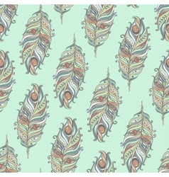 Seamless pattern with decorative feather vector image
