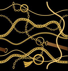 seamless vintage pattern with chains vector image