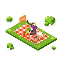 selfie day isometric composition vector image