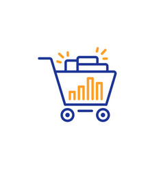 Seo shopping cart line icon search engine vector