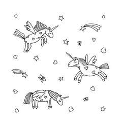 set of cartoon unicorn of unicorns coloring page vector image