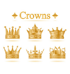 Set of gold king crown vector