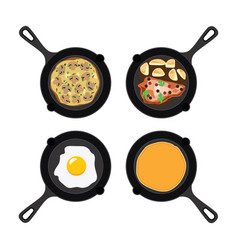 set of pans with food vector image