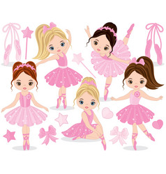 Set with cute little ballerinas vector