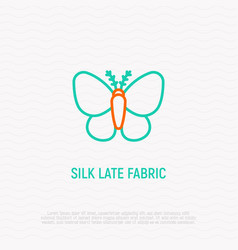 Silkworm line icon symbol of silk late fabric vector