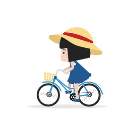 small girl ride a bicycle vector image