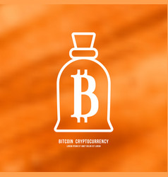 stock emblem of bitcoin cryptocurrency vector image