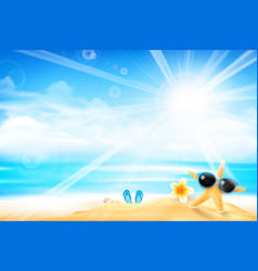 the starfish is wearing sunglasses 001 vector image