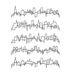 thin line contours buildings vector image