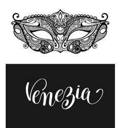 Venezia calligraphy brush lettering text design vector